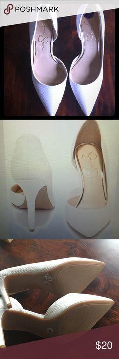 Jessica Simpson white faux snakeskin heel JP-Livvy pointed toe sexy faux snakeskin heel Jessica Simpson Shoes Sandals