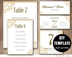 Wedding Seating Chart Template - Wedding Place card Template,Printable Wedding Table List Template,Gold Champagne Seating Chart by paperfull on Etsy