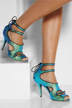 Tabitha Simmons LB iridescent leather sandals NET-A-PORTER.COM