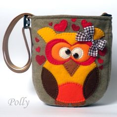 by Polly polly-hand-made.flog.pl  Handmade hearts owl bag Seen on Pintrest, loved and repined by Craft-seller.com #autumn