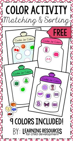 Cookie Jar Colors Activity is a fun free printable for learning colors sorting and matching Perfect for preschool prek kindergarten and early childhood Free activity by L. Preschool Color Activities, Free Preschool, Preschool Worksheets, Preschool Activities, Preschool Color Theme, Preschool Spanish, Preschool Printables, Teaching Spanish, Color Sorting For Toddlers