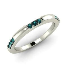 Round Blue Diamond  Wedding bands Ring in 14k White Gold