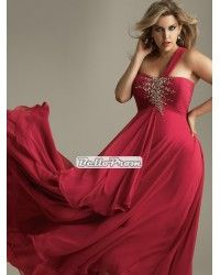 38a6a20585 A-line one shoulder ruched bodice beaded chiffon plus size prom dress  PD34554 Plus Size