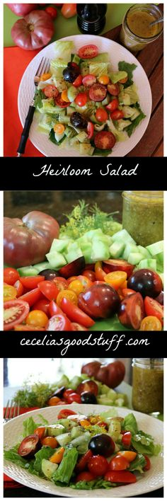 Heirloom Tomato Salad  with Homemade Herb Vinaigrette - Recipe here - http://ceceliasgoodstuff.com/heirloom-tomato-salad-homemade-vinaigrette