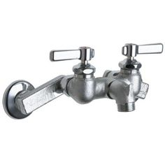 Chicago Faucets 2-Handle Kitchen Faucet in Chrome with 2-1/2 in. Offset Supply Arms, Short Spout and Pail Hook