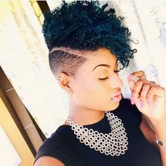 Dope cut and color! Natural Hair Short Cuts, Tapered Natural Hair, Pelo Natural, Short Hair Cuts, Natural Hair Styles, Undercut Natural Hair, Shaved Side Hairstyles, Girl Hairstyles, Curly Mohawk Hairstyles