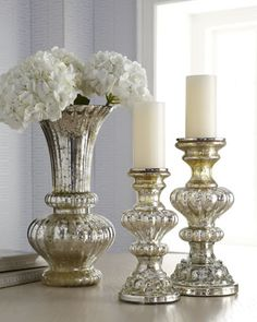 """Mercury Glass"" Vase & Candleholders at Horchow."