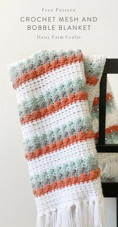 Crochet Afghans Patterns Free Pattern - Crochet Mesh and Bobble Blanket Crochet Afghans, Bobble Crochet, Crochet Baby Blanket Beginner, Manta Crochet, Afghan Crochet Patterns, Free Crochet, Crochet Blankets, Easy Crochet, Crochet Daisy