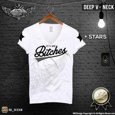 Deep V Neck Mens T-shirt Bad Boy Its Me Bitches Wording RB Design Tank Top MD780