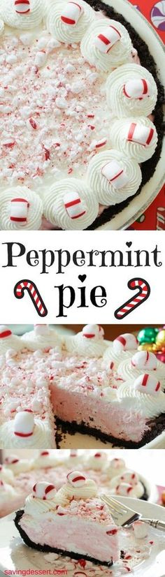 Peppermint Pie ~ light and fluffy, simple and sweet, with all the flavors of the holiday season! www.savingdessert.com #savingroomfordessert #peppermint #pie #holidaypie #dessert #Christmas #peppermintpie