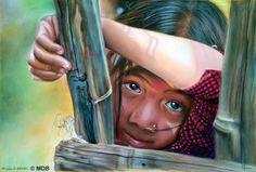 """Coup de cœur du concours peinture toutes techniques sur www.myrankart.com """"Derrière Les Bambous"""" (D'Après Une Photo De Claude Rausch) by Michèle Duretête-Brodel"""