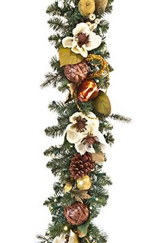 Cream  Gold 9 PreLit Decorated Garland -- Read more  at the image link.