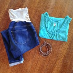 Maternity Tank Old Navy maternity ruffle tank top. Teal, loose fit. 100% cotton. Old Navy Tops Tank Tops