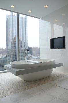 A tub with a view. Design by LUXE Pittsburgh Pittsburgh, Condo, Bathtub, House Design, Lighting, Building, Interior, Bathrooms, Tile