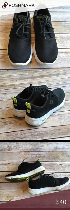 Sperry Sneakers Black with lime green detailing, no stains in great condition Sperry Shoes Sneakers