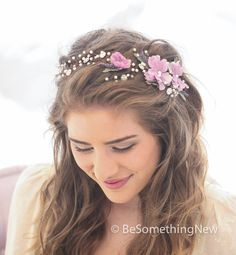 Wedding Hair Vine of Lavender Flowers Pearls and by BeSomethingNew, $100.00