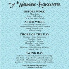 The Wannabe Housekeeper Schedule | The Wannabe Athlete