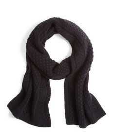 """Cable Knit Scarf crafted in a cashmere and wool blend. 60"""" x 9"""". Dry clean. Imported."""