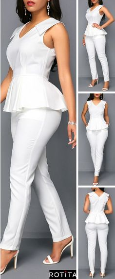 This jumpsuit with out strap can make you look much sexier and v-neck design make you full of charm,you can wear it to your party or wear it at your daily time is very suitabe,get one you like. White Peplum, Latest African Fashion Dresses, Moda Plus Size, Neck Design, White Outfits, African Dress, Jumpsuit, Fashion Outfits, Couture