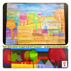 Ton Schulten inspired art lesson - watercolour on paper