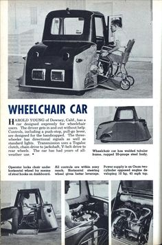 Check out this 1956 wheelchair car. Things have changed a lot since then.