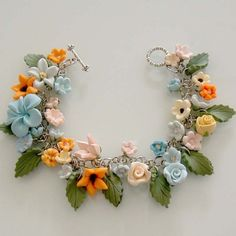 Tropical Garden Bracelet by beadscraftz on Etsy