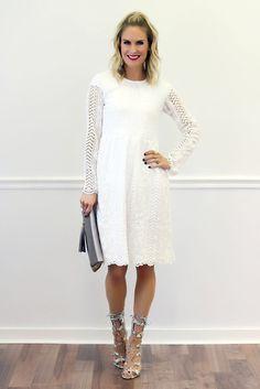 Tenley White Lace Midi Dress | Piper Street