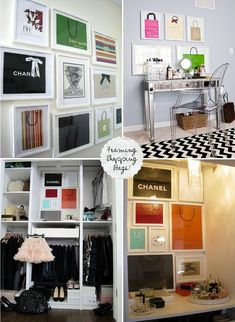 Framing shopping bags: what a lovely idea for decorating a walk-in closet!