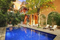 Casa Pestagua boutique hotel in Cartagena Colombia. One of the five biggest and most beautiful houses in Cartagena's historic down town.  Just 9 guest rooms and two suites, restaurant, bar, solarium, spa, rooftop jacuzzi, third-floor terrace and pool and garden to include some sea views. $332