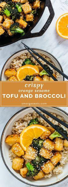 Crispy Orange Sesame Tofu and Broccoli