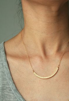 Gold Bar Necklace Minimal Necklace Pave Necklace