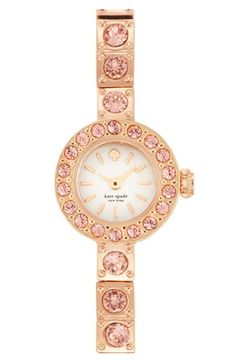 kate spade new york 'pierre' pavé bracelet watch, 10mm at Nordstrom.com. Sparkling crystals brighten the bezel and line the ultra-slim strap of this darling bracelet watch further enhanced with a dainty mother-of-pearl dial.