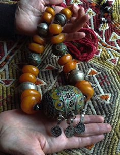 XLarge African Tuareg Cloisonne Enamel Amber Ball Red Wool Necklace Coin jewelry