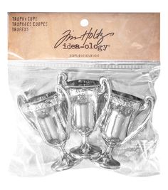 The Tim Holtz Idea-Ology Trophy Cups make a versatile addition to your creative supplies. This pack contains three 2.5 x 2 x 1.25-inch plastic trophy cups. Whether it is a birthday, anniversary, a vic