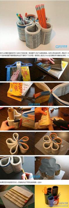 desk accessory...a pen/etc...holder from an old phone book...what a great way to recycle a phone book!!!!