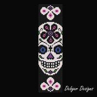 Sugar Skull 4 Loom Bracelet Cuff Pattern by LoomTomb on Etsy Bead Loom Bracelets, Beaded Bracelet Patterns, Jewelry Patterns, Beaded Jewelry, Jewelry Ideas, Beading Patterns Free, Bead Loom Patterns, Weaving Patterns, Art Patterns