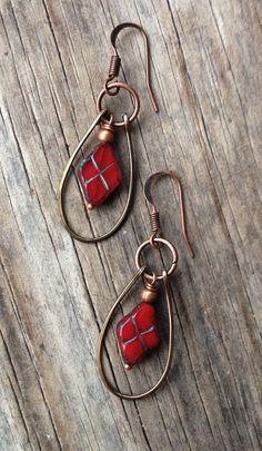 Red Earrings / Argyle Earrings / Argyle Jewelry / Copper Earrings / Red Jewelry / Hipster Jewelry / E083