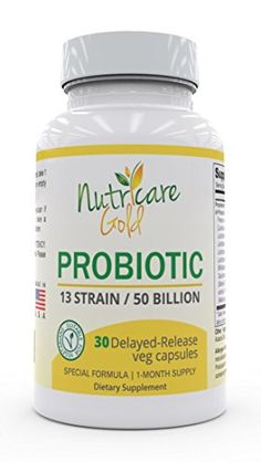 Nutricare Gold 13 Strain Probiotic 1 Month Supply * More info could be found at the image url. (This is an affiliate link) 1 Month, Advertising, Nutrition, Amazon, Link, Health, Image, Hair, Gold