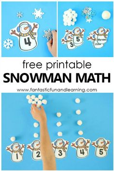 Free Printable Snowman Winter Math Counting Activity #preschool #kindergarten #snowman #counting