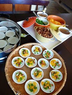 These delicious Bánh Bèo is the Vietnamese version of tapas. They are made and served in these tiny ceramic plates, packed with enorm. Easy Vietnamese Recipes, Vietnamese Dessert, Vietnamese Cuisine, Asian Recipes, Ethnic Recipes, Asian Foods, Rice Cake Recipes, Rice Cakes, Real Food Recipes