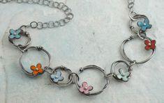 Kathryn Riechert | Enamel flowers on chain necklace