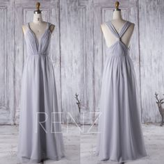2016 Light Gray Bridesmaid Dress Long Deep V Neck by RenzRags
