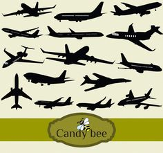 Airplane Silhouettes Clip art. Instant Download clip art. Commercial or Personal Use -325 by CandyBeeDesigns on Etsy https://www.etsy.com/listing/222181132/airplane-silhouettes-clip-art-instant