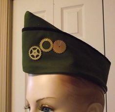 Steampunk Military Hat with Gears Steam Punk Hat Army Green Vintage Style WWII Flight Cap Garrison Hat Wedge Cap Women Men Unisex Small. $28.95, via Etsy.