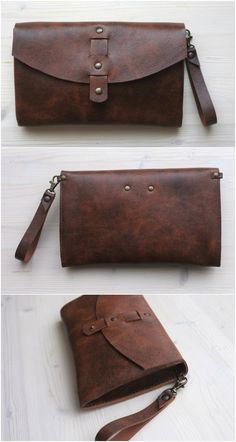 Handmade envelope clutch crafted from thick high quality natural leather. #leatherclutch #clutch #wristletclutch #brownclutch #brownleather