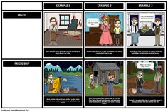 The Adventures of Huckleberry Finn by Mark Twain - Themes, Symbols, and Motifs: Using a Grid storyboard / graphic organizer, students can visualize key themes in the story of Huck Finn, the Duke, the King, and Jim. This activity is found in our guide for The Adventures of Huckleberry Finn book.
