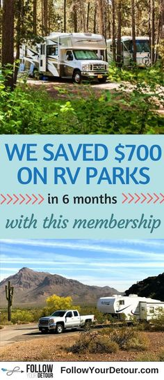 This RV membership pays for itself in the first use! You'll save hundreds of dollars guaranteed at some of the best RV parks and campgrounds in the U.S. If you are living full-time in an #RV or just taking road trips, this membership is a must if you are on a budget. Check out other #RVingtips and ideas from this couple who live in their 5th wheel full-time. They publish their routes, resources, and even their fifth wheel renovation on their site, FollowYourDetour.com. #fulltimerv #RVlife