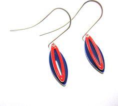 Nautical Enamel Earrings Royal Blue & Red by sweetie2sweetie
