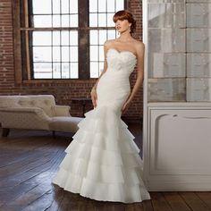 Vestido De Noiva 2016 New Design Beautiful Tiered Sleeveless Mermaid Organza Sweetheart For Long Formal Wedding Dresses L04934