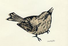 bird lino print over collage by laurie clarke, via Flickr